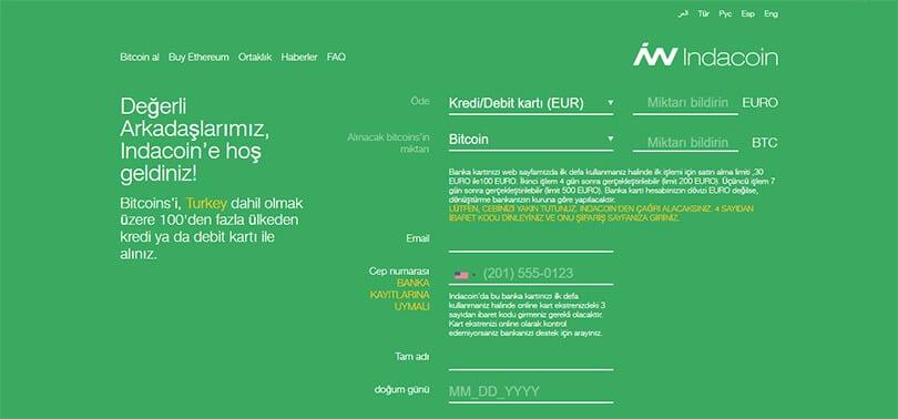 indacoin ile Bitcoin Satın Alma